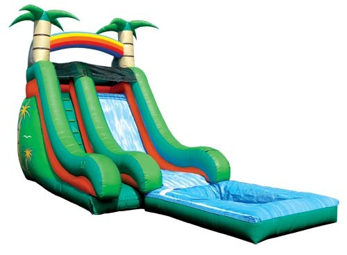 SLIDE - 18 Ft Tropical Splash Down Slide w/pool